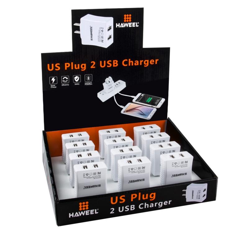 12 PCS HAWEEL 2 USB Ports Max 3.1A Travel Charger Kit with Display Stand  Box, US Plug