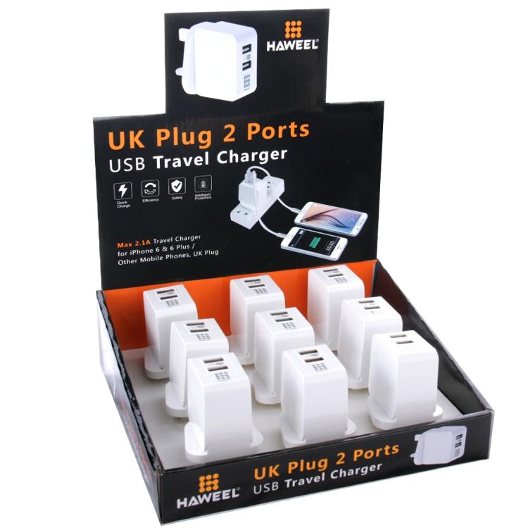 9 PCS HAWEEL UK Plug 2 USB Ports 1A / 2.1A Travel Charger Kits with Display Stand Box