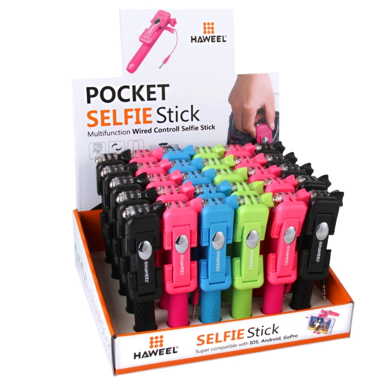30 PCS Mixed Colors HAWEEL Mini Multifunction Wire Controlled Extendable Selfie Stick Kits with Display Stand Box