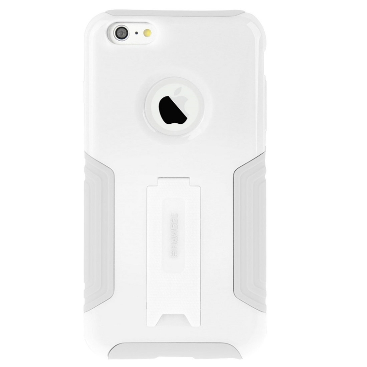 10 PCS HAWEEL for iPhone 6 & 6s Dual Layer TPU Plastic Combo Case with Kickstand, No Retail Package(White)