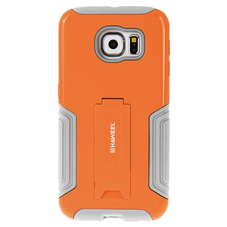 10 PCS HAWEEL for Galaxy S6 / G920 Dual Layer TPU Plastic Combo Case with Kickstand, No Retail Package(Orange)