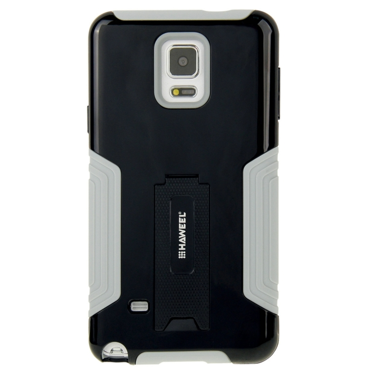 10 PCS HAWEEL for Galaxy Note 4 / N910 Dual Layer TPU Plastic Combo Case with Kickstand, No Retail Package(Black)