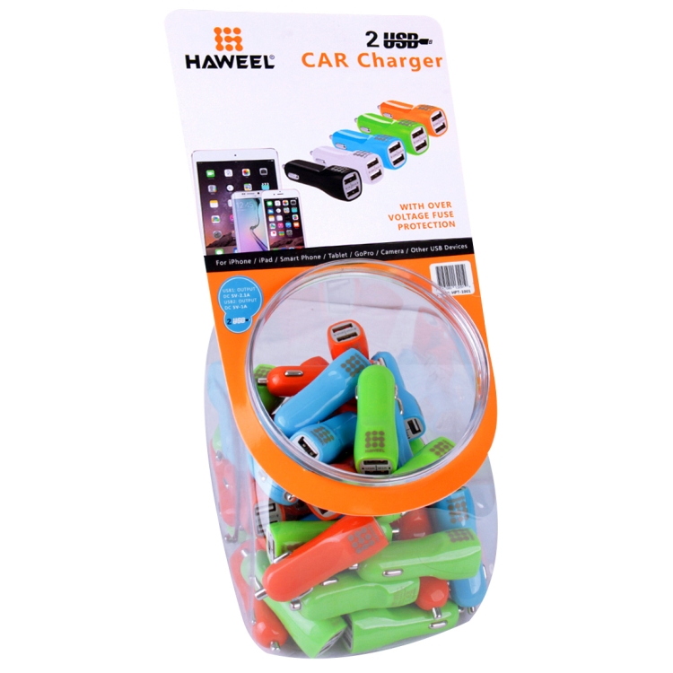 60 PCS Mixed Colors HAWEEL 3.1A Dual USB Ports Car Charger Kit with Candy Cans Package