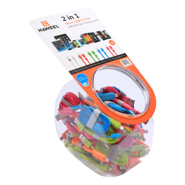 40 PCS Mixed Colors HAWEEL 2 in 1 Micro USB & 8 Pin to USB Data Sync Charging Cable Kit with Candy Cans Package