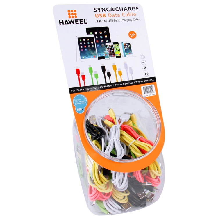 35 PCS Mixed Colors HAWEEL 1m High Speed 35 Cores 8 pin to USB Sync Charging Cable Kit with Candy Cans Package