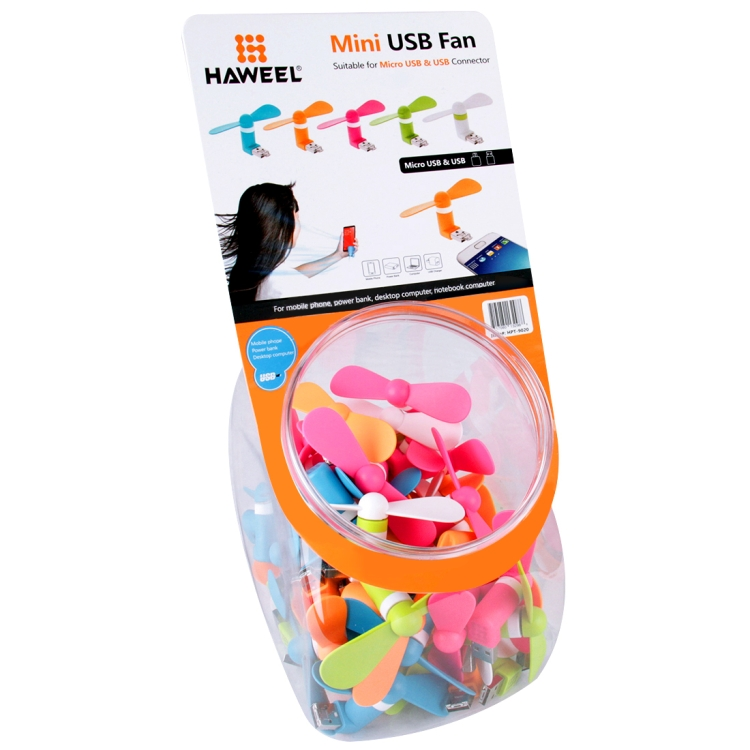 40 PCS Mixed Colors HAWEEL 3.5 inch Fashion Two Ports Micro USB Phone Two Leaves Mini USB Fan Kit with Candy Cans Packag