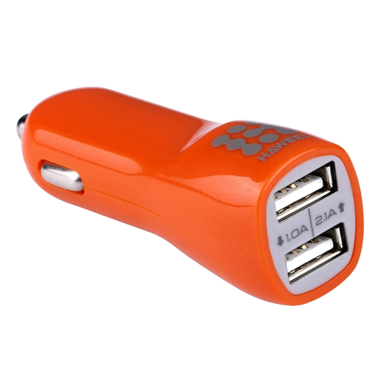 HAWEEL General 1A + 1A Dual USB Ports Car Charger(Orange)