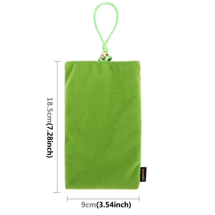 HAWEEL Soft Flannel Pouch Bag with Pearl Button for up to 5.5 inch Screen Phone, Size: 18.5cm x 9cm(Green)