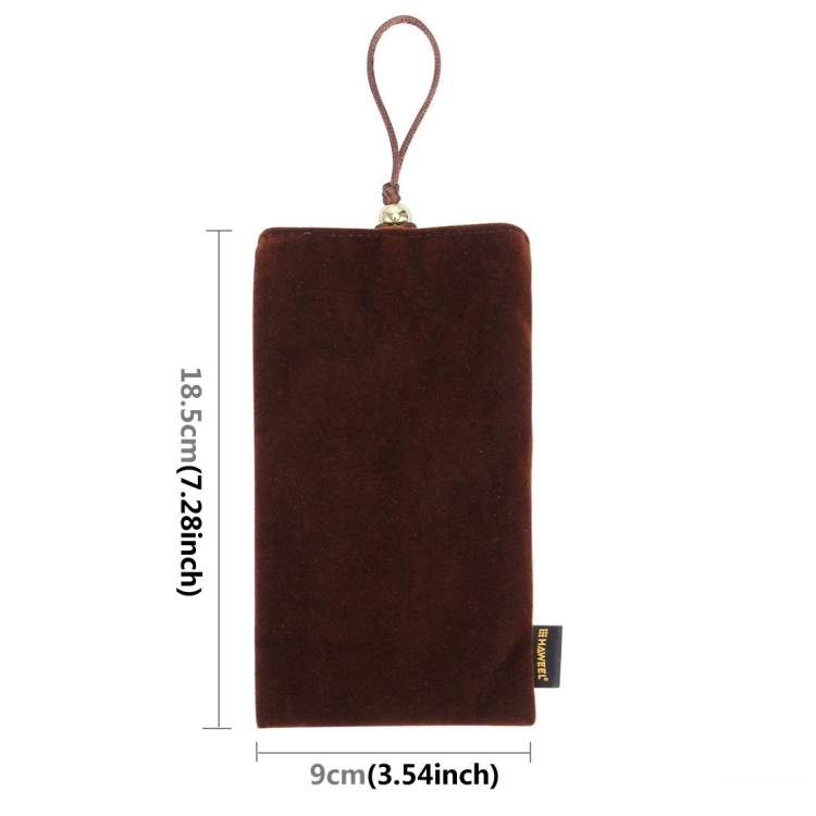 HAWEEL Soft Flannel Pouch Bag with Pearl Button for  up to 5.5 inch Screen Phone, Size: 18.5cm x 9cm(Brown)