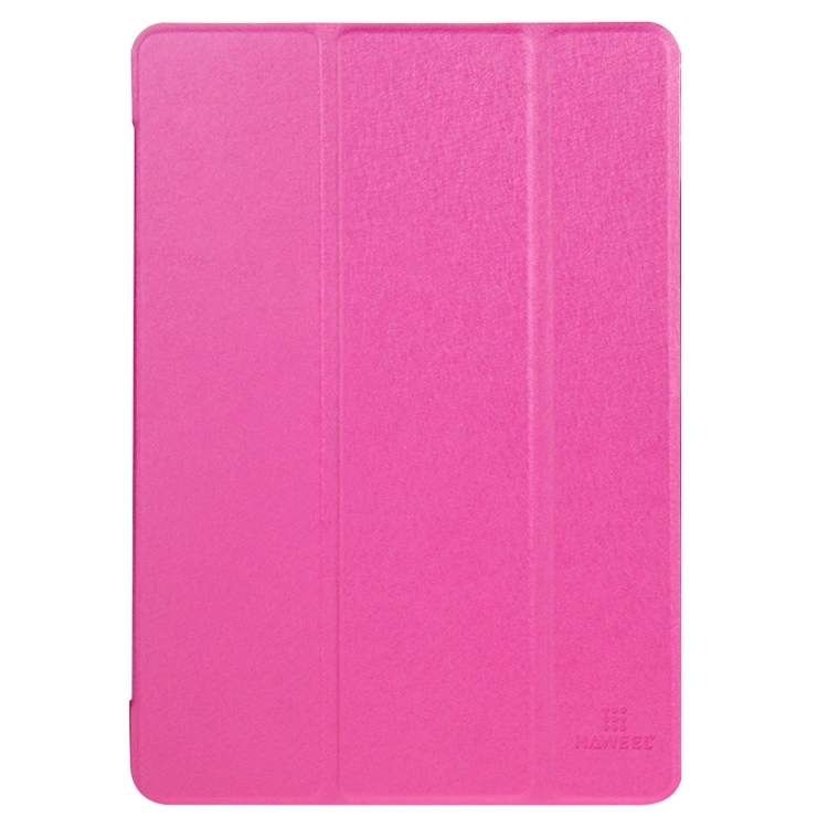 HAWEEL 3-folding Smart Case Clear Back Cover with Holder for iPad Air 2(Magenta)