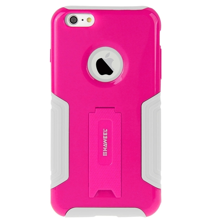 HAWEEL Dual Layer TPU Plastic Combo Case with Kickstand for iPhone 6(Magenta)