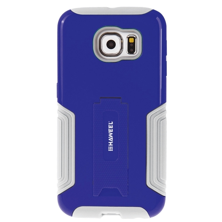 HAWEEL for Galaxy S6 / G920 Dual Layer TPU Plastic Combo Case with Kickstand(Blue)