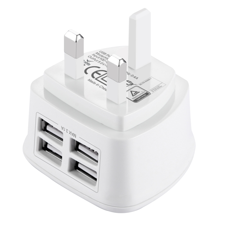 [BS Certificate] HAWEEL UK Plug 4 USB Ports Max 3.1A Travel Charger, Private Mold with Patent