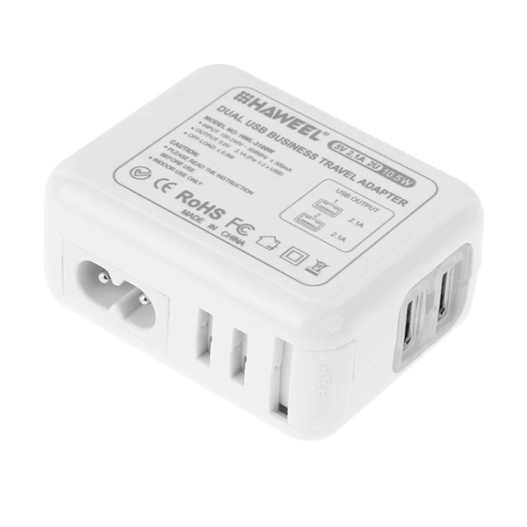 HAWEEL 2 Ports USB 5V 2.1A Wall Charger Set with Removable International UK + EU + US + AU Plug