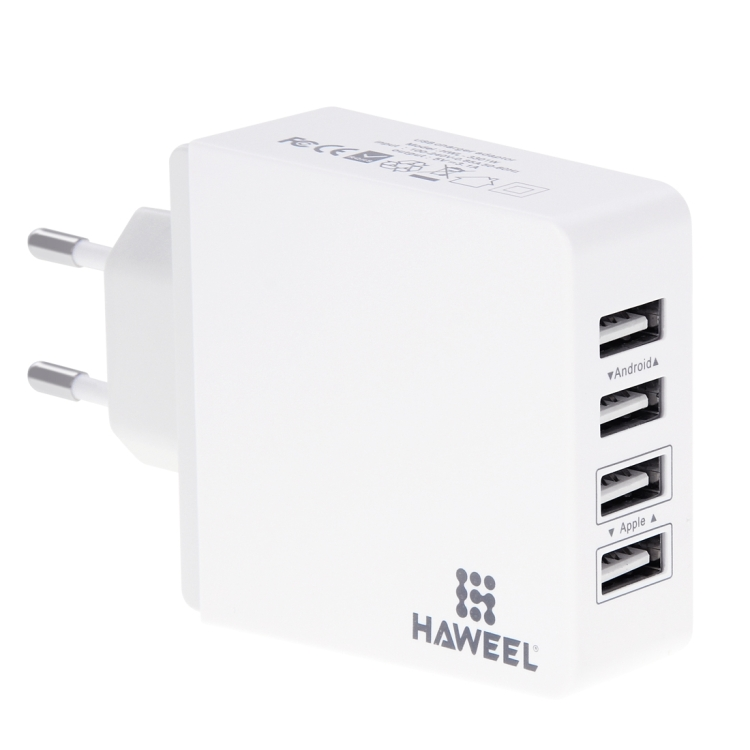 [UK Stock] HAWEEL 4 Ports USB Max 3.1A Travel Wall Charger, EU Plug, with CE & RoHS Certification
