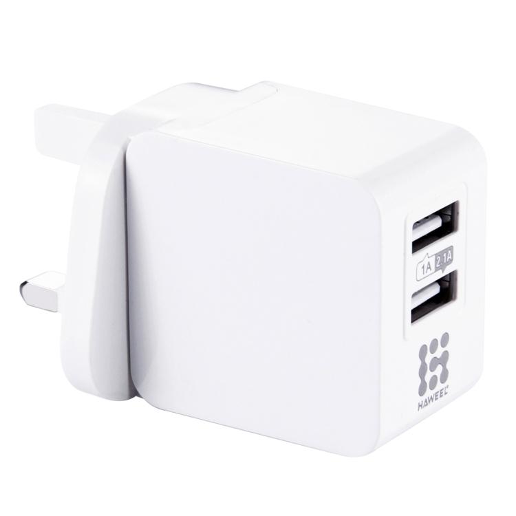 HAWEEL 2 USB Ports 1A / 2.1A Travel Charger, UK Plug