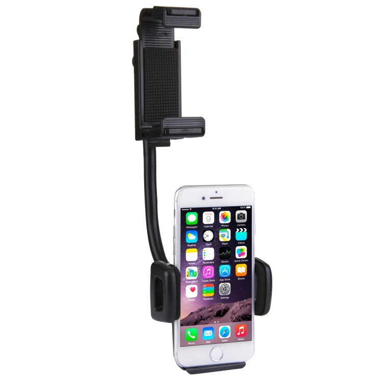 HAWEEL 2 in 1 Universal Car Rear View Mirror Stand Mobile Phone Mount Holder, Clamp Size: 40mm-80mm