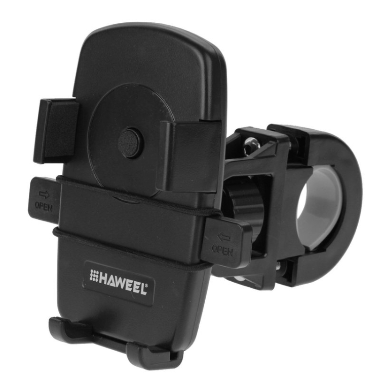 HAWEEL 360 Degree Rotation Universal Bike Mobile Phone Mount Holder for iPhone, Galaxy, Huawei and other smart phones, Clamp Size: 49mm-75mm(Black)