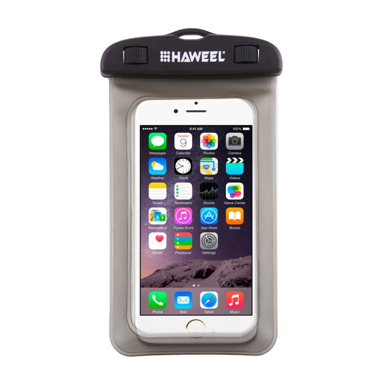 HAWEEL Transparent Universal Waterproof Bag with Lanyard for iPhone, Galaxy, Huawei, Xiaomi, LG, HTC and Other Smart Phones(Black)