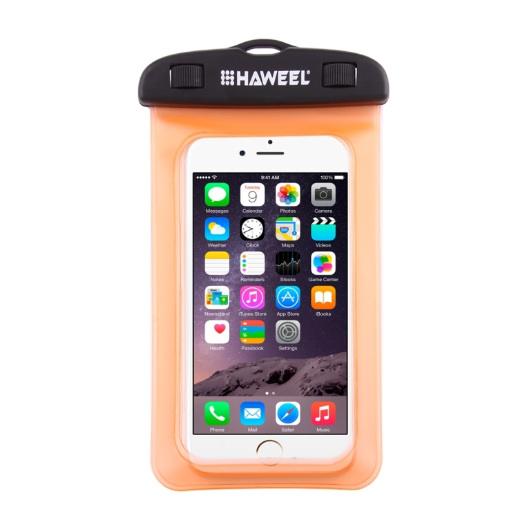HAWEEL Transparent Universal Waterproof Bag with Lanyard for iPhone, Galaxy, Huawei, Xiaomi, LG, HTC and Other Smart Phones(Orange)