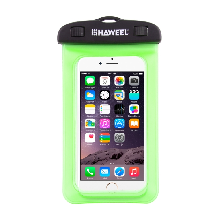 HAWEEL Transparent Universal Waterproof Bag with Lanyard for iPhone, Galaxy, Huawei, Xiaomi, LG, HTC and Other Smart Phones(Green)