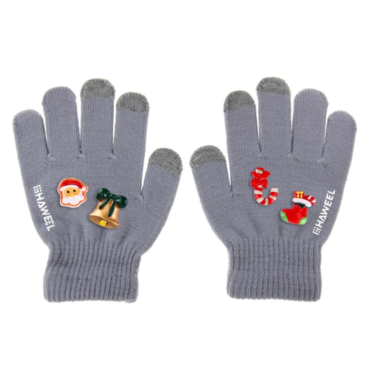HAWEEL 16cm Three Fingers Touch Screen Gloves + DIY Christmas Decoration for Kids, Christmas Decoration Random Delivery 4 PCS(Grey)