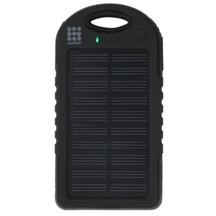 HAWEEL 4000mAh Double USB Power Bank Solar Charger with LED Flash Light for iPhone 6 & 6 Plus / Galaxy Note 5 / Note 5 Edge / HTC and Other Mobile Phones(Black)