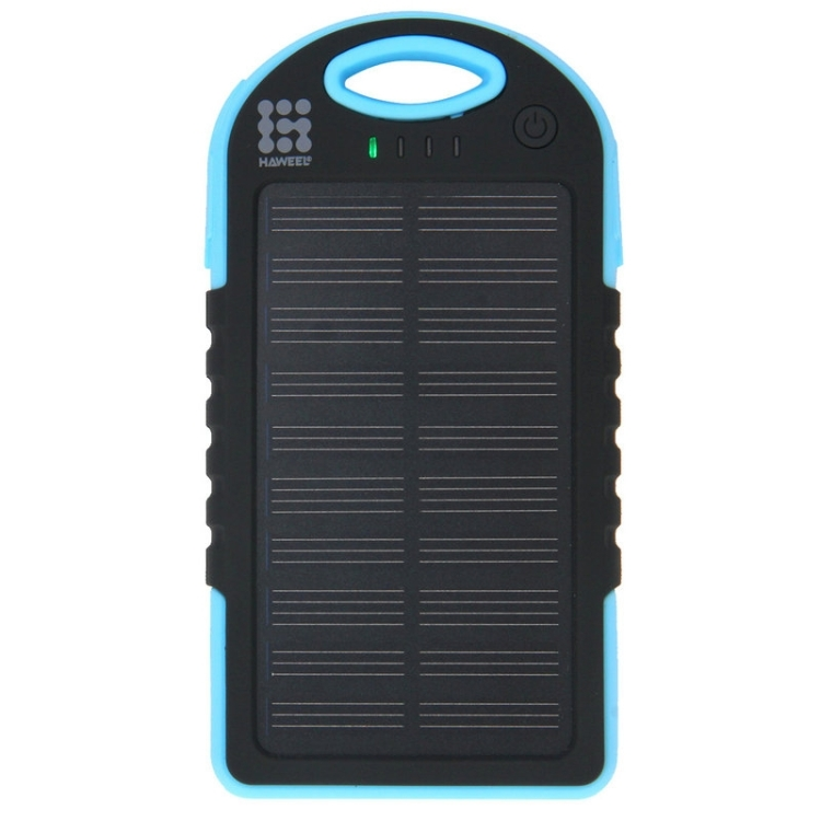 HAWEEL 4000mAh Double USB Power Bank Solar Charger with LED Flash Light for iPhone 6 & 6 Plus / Galaxy Note 5 / Note 5 Edge / HTC and Other Mobile Phones(Blue)