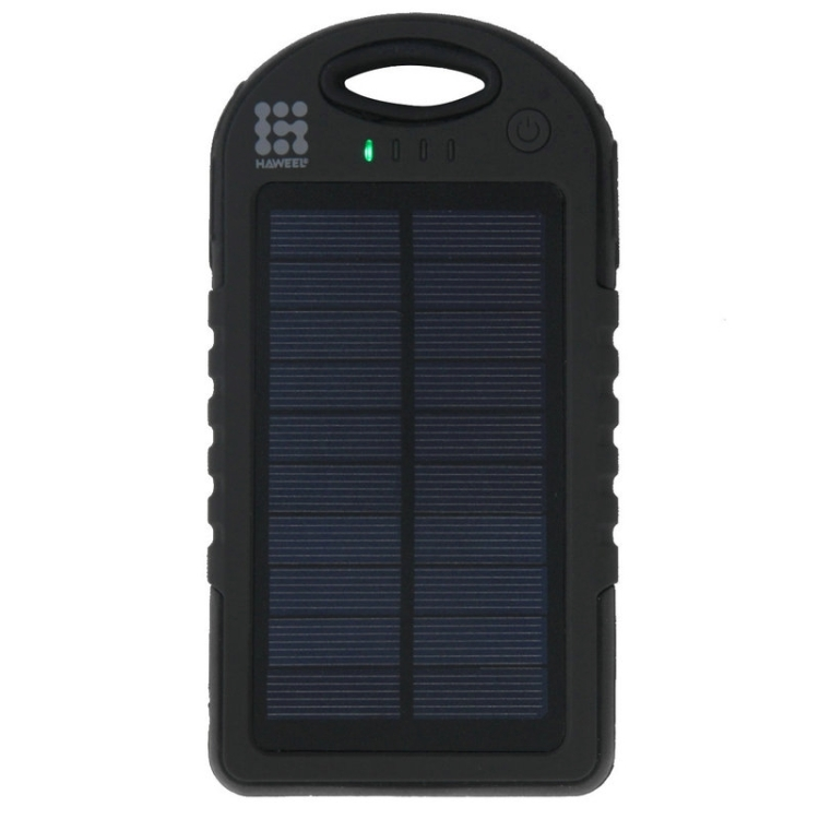 HAWEEL 8000mAh Double USB Power Bank Solar Charger with LED Flash Light for iPhone 6 & 6 Plus / Galaxy Note 5 / Note 5 Edge / HTC and Other Mobile Phones(Black)