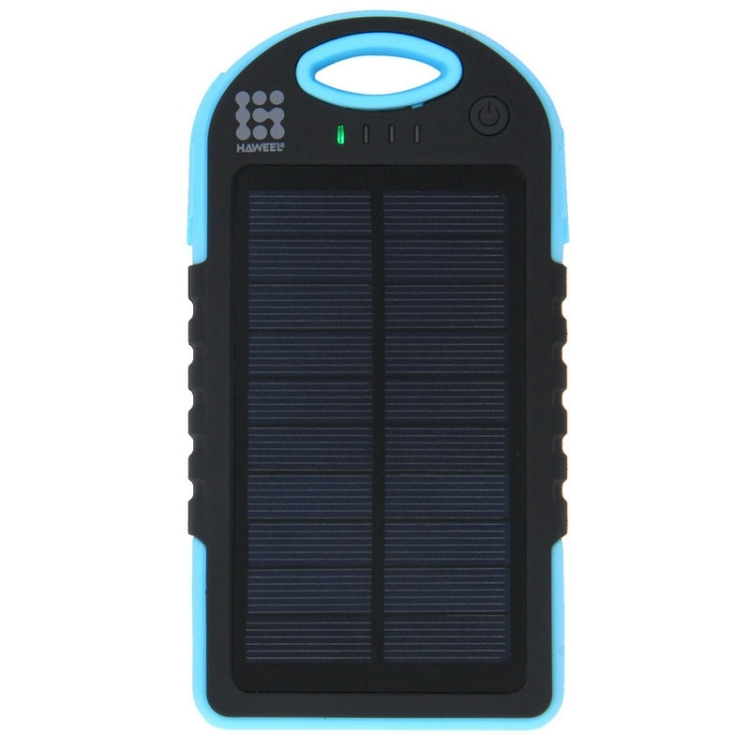 HAWEEL 8000mAh Double USB Power Bank Solar Charger with LED Flash Light for iPhone 6 & 6 Plus / Galaxy Note 5 / Note 5 Edge / HTC and Other Mobile Phones(Blue)