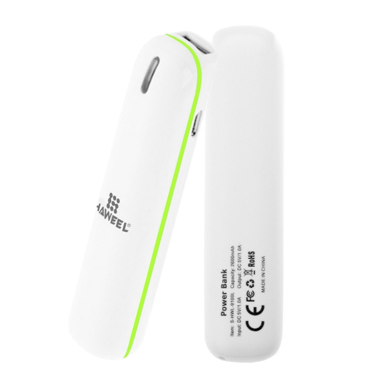 HAWEEL 2600mAh USB Power Bank with 8 Pin & Micro USB 2 in 1 Charging Cable(Green)
