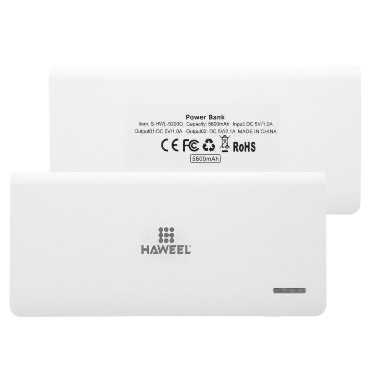 HAWEEL 5600mAh Dual USB Power Bank with 8 Pin & Micro USB 2 in 1 Charging Cable
