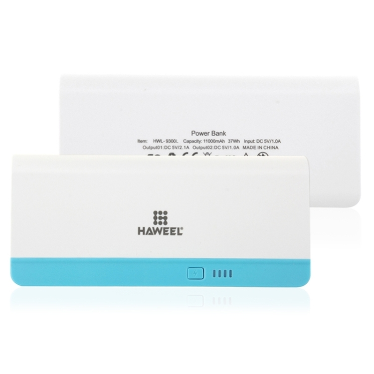 HAWEEL 11000mAh Dual USB Power Bank with 8 Pin & Micro USB 2 in 1 Charging Cable(Blue)