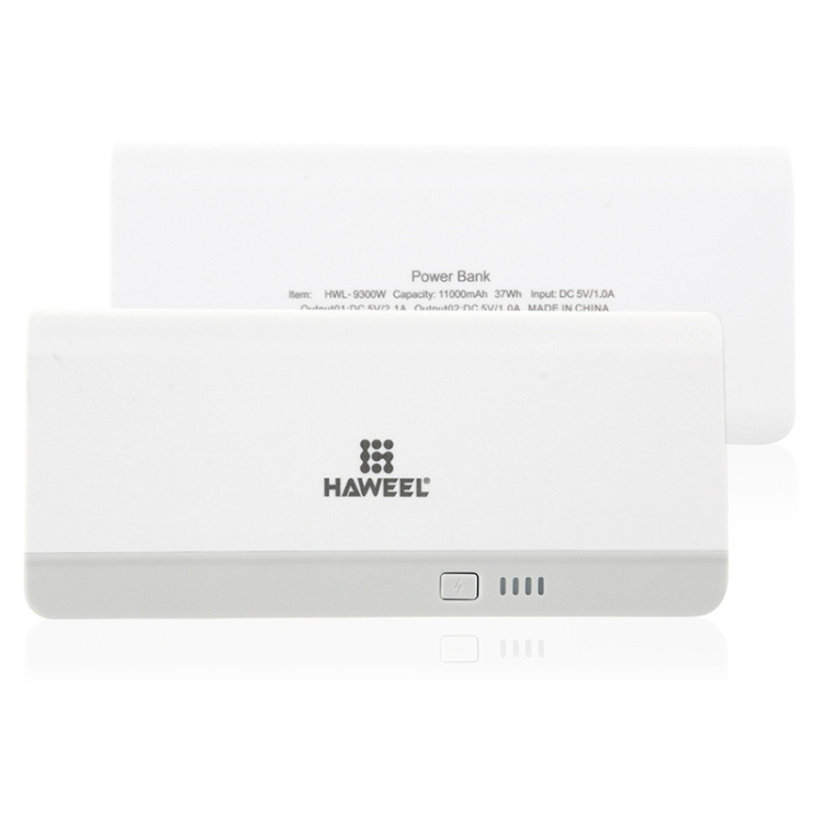 HAWEEL 11000mAh Dual USB Power Bank with 8 Pin & Micro USB 2 in 1 Charging Cable(White)