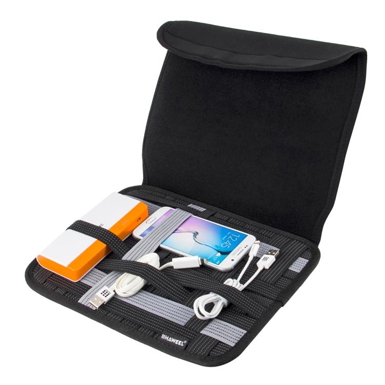 HAWEEL 10 inch Tablet Wrap Organizer Neoprene Digital Storage Pocket Bag(Black)