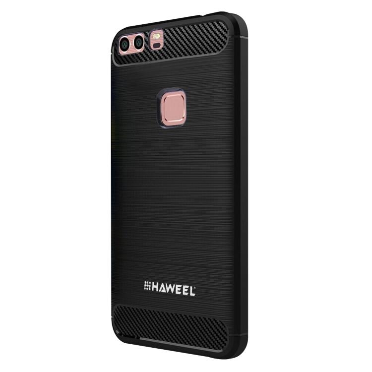 HAWEEL For Huawei  P9 Brushed Carbon Fiber Texture Shockproof TPU Protective Case(Black)