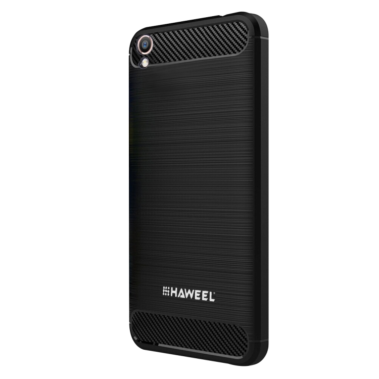 HAWEEL for OPPO R9 Brushed Carbon Fiber Texture Shockproof TPU Protective Case(Black)
