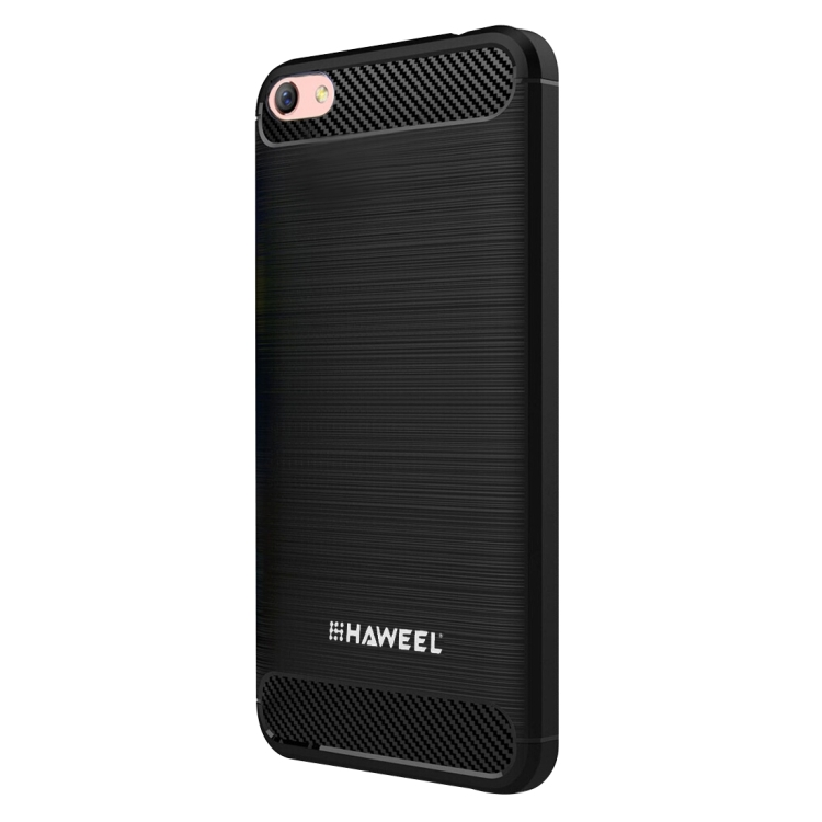 HAWEEL for OPPO R9S Plus Brushed Carbon Fiber Texture Shockproof TPU Protective Case(Black)