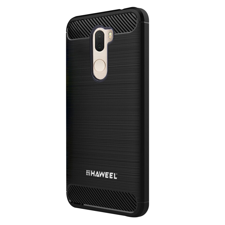 HAWEEL for  Xiaomi MI 5s Plus Brushed Carbon Fiber Texture Shockproof TPU Protective Case(Black)