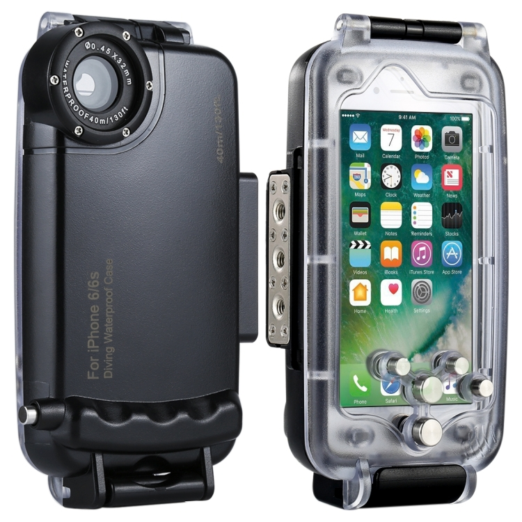 HAWEEL for iPhone 6 & 6s 40m 40m/130ft Waterproof Diving Housing Photo Video Taking Underwater Cover Case(Black)