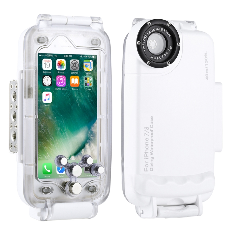 HAWEEL 40m/130ft Waterproof Diving Housing Photo Video Taking Underwater Cover Case for iPhone 7 & 8(White)