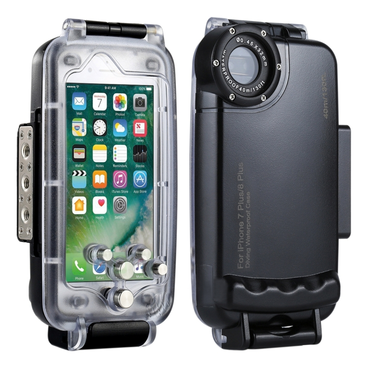 HAWEEL for iPhone 8 Plus & 7 Plus 40m/130ft Waterproof Diving Housing Photo Video Taking Underwater Cover Case(Black)
