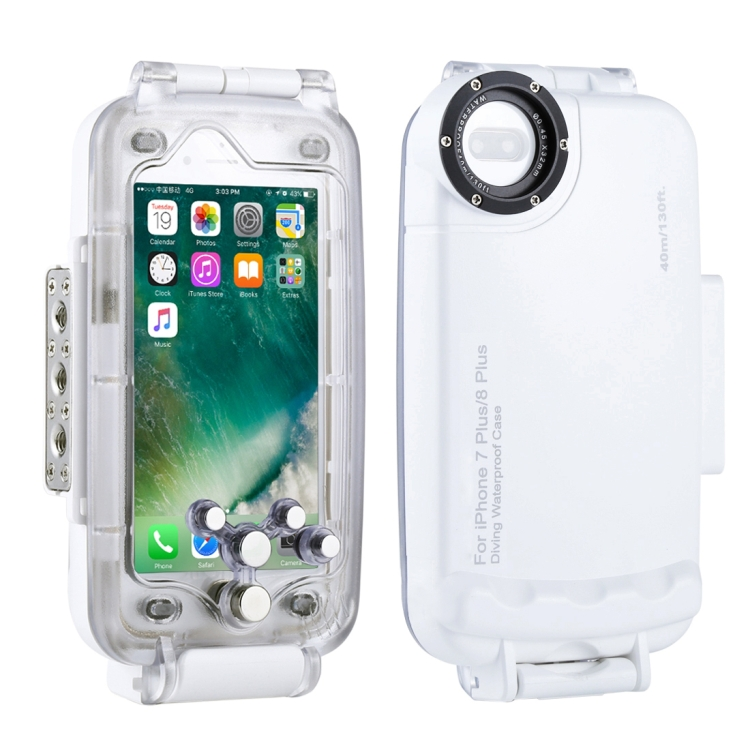 HAWEEL for iPhone 8 Plus & 7 Plus 40m/130ft Waterproof Diving Housing Photo Video Taking Underwater Cover Case(White)