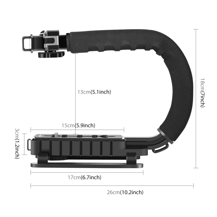 Soft camera Protective case U//C Shape Portable Handheld DV Bracket Stabilizer LED Studio Light Video Shotgun Microphone Kit with Cold Shoe Tripod Head for All SLR Cameras and Home DV Camera